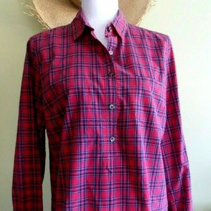 J. Crew Red Plaid Cotton Shirt 3/4 Button Front 8